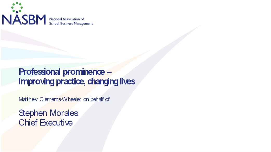 Title slide from the Professional Prominence address